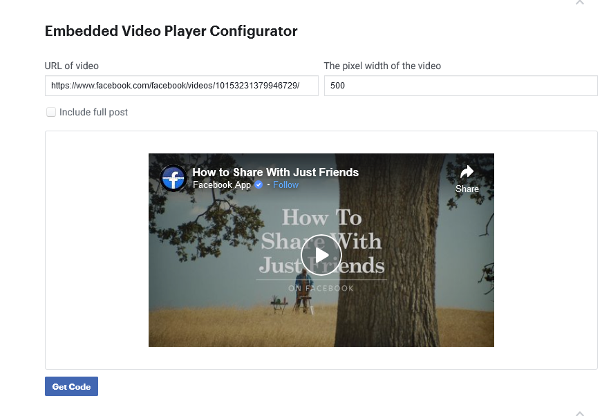 Running a Facebook Live Video on a web page